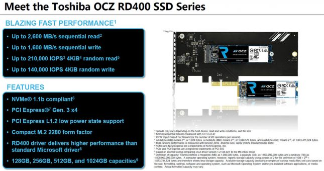 Toshiba OCZ RD400 Series Key Features