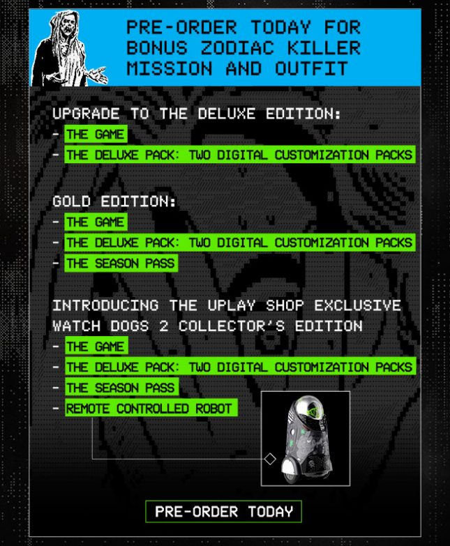 Watch dogs 2 preorder deluxe gold collectors