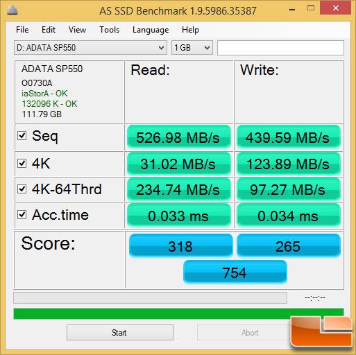 ADATA SP550 120GB AS SSD Benchmark