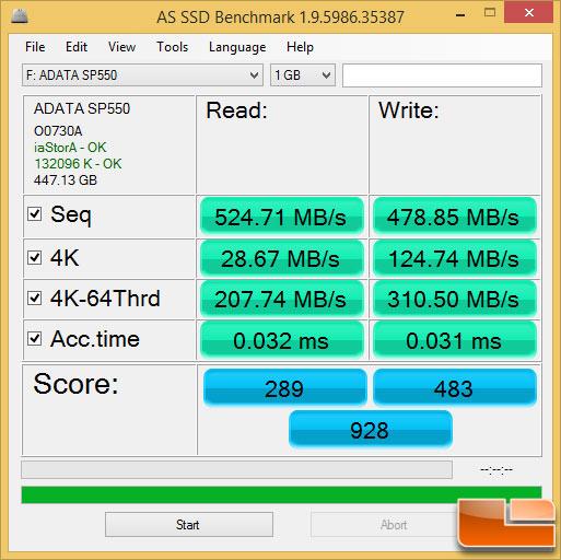 ADATA SP550 480GB AS SSD Benchmark