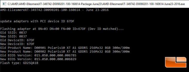 AMD ellesmere XT vBIOS Flash