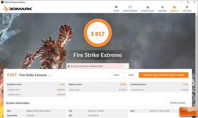 AMD Radeon RX 480 Fire Strike Overclocked