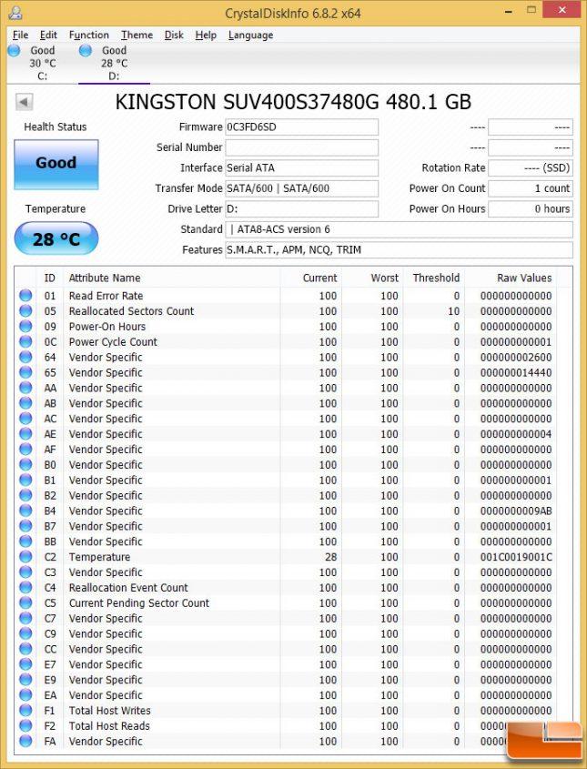 Kingston UV400 480GB CrystalDiskInfo