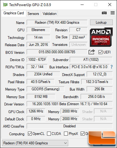 Radeon RX 480 w/ Crimson 16.7.1 Beta