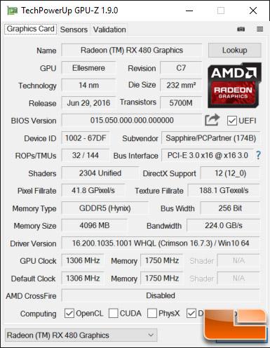 Sapphire Nitro RX480 4GB Video Card