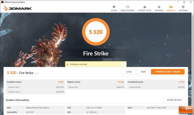 Radeon RX 460 3DMark Fire Strike Overclocked