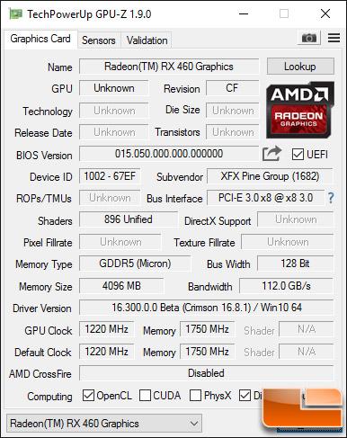XFX Radeon RX 460 4GB GPU-Z