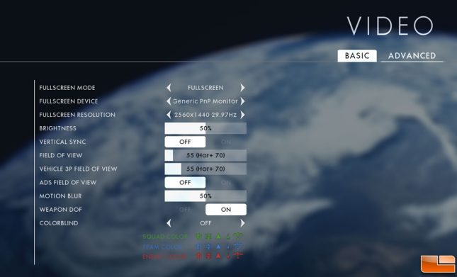 Battlefield 1 Video Card Settings