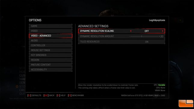 Gears of War 4 Graphics Options