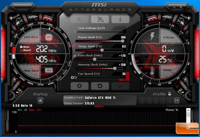 MSI Afterburner Overclock GeForce GTX 1050 Ti