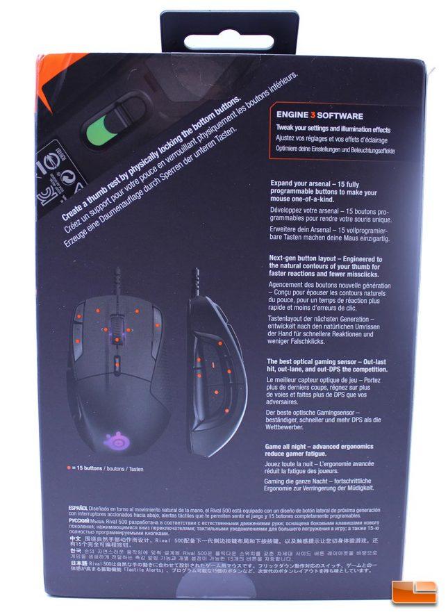SteelSeries Rival 500 Box (Rear)