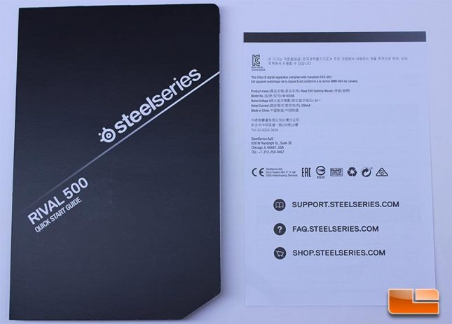 SteelSeries Rival 500 Quick User Guide