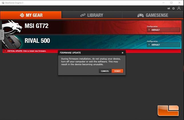 SteelSeries Rival 500 Firmware Update