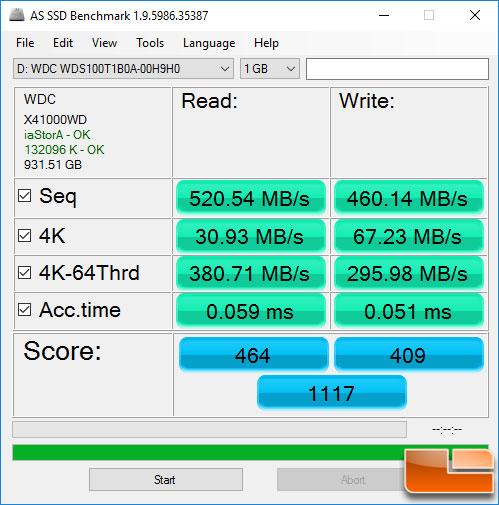 WD Blue 1TB SSD ASSSD Benchmark