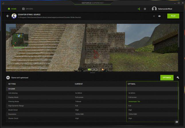 GeForce Experience Game Optimization