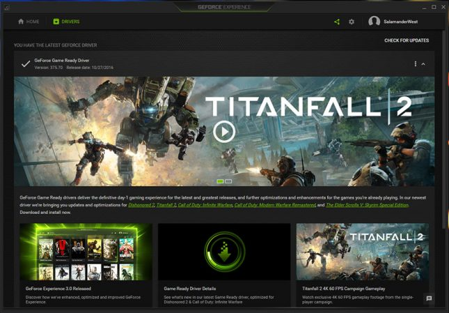 GeForce Experience Game Ready Drivers