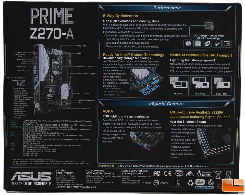 ASUS Prime Z270-A Motherboard Review - Legit ReviewsASUS Prime Z270