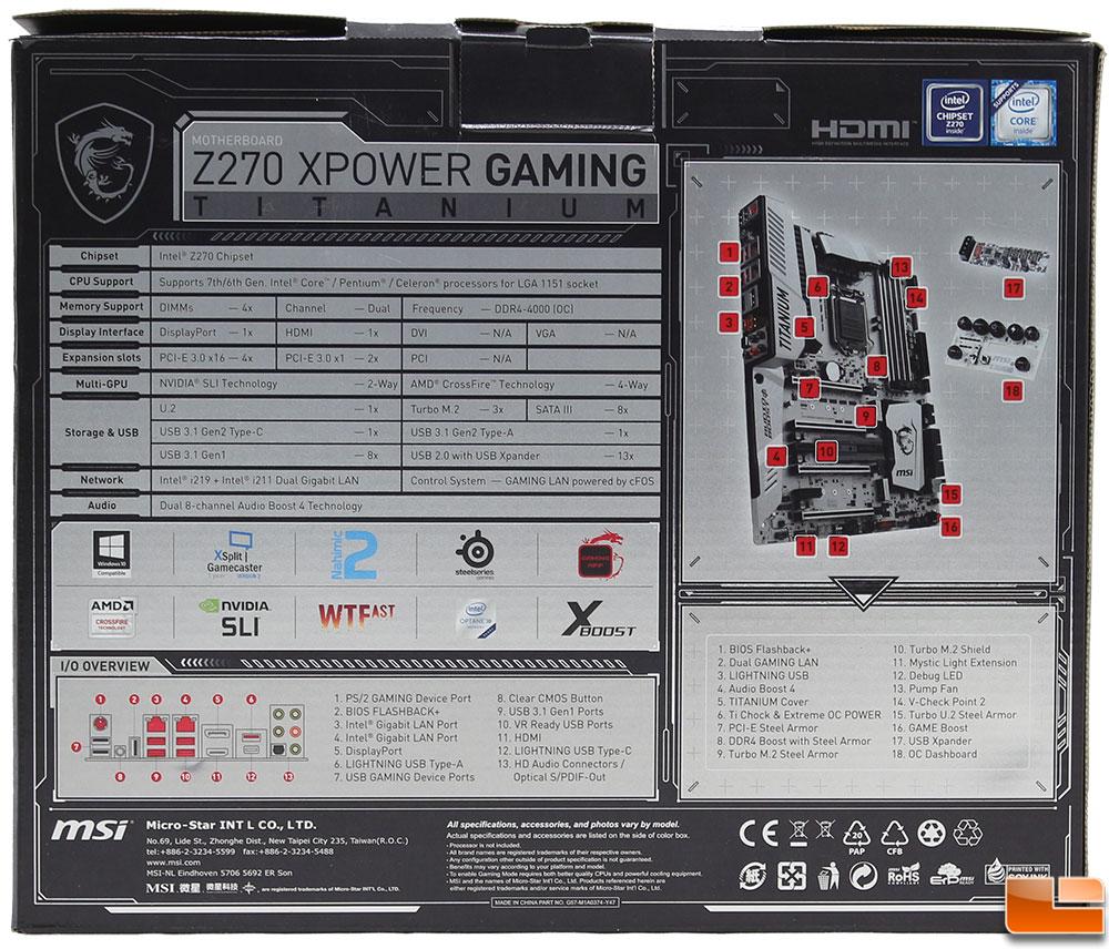 MSI Z270 XPower Gaming Titanium Motherboard Review - Legit