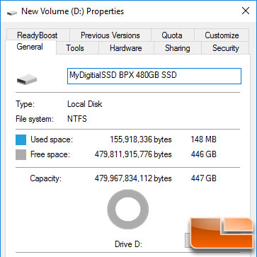 MyDigitalSSD BPX Free Space