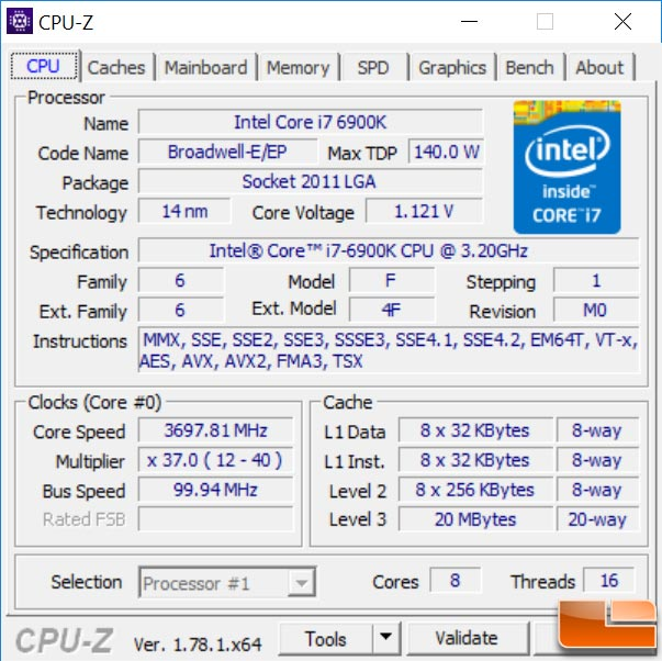 Intel Core i7 6900k CPU-Z
