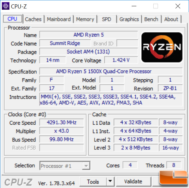 AMD Ryzen 5 1500X at 4.3GHz