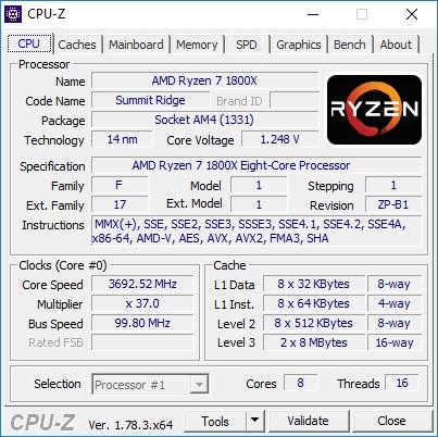 Ryzen 7 1800X - Stock Frequency