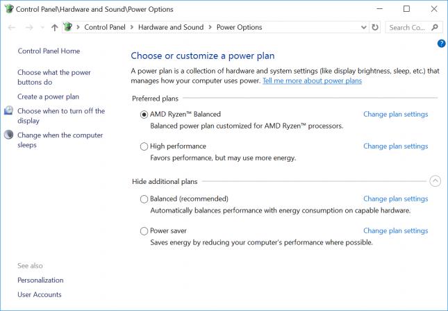 AMD Ryzen Windows 10 Custom Power Plan