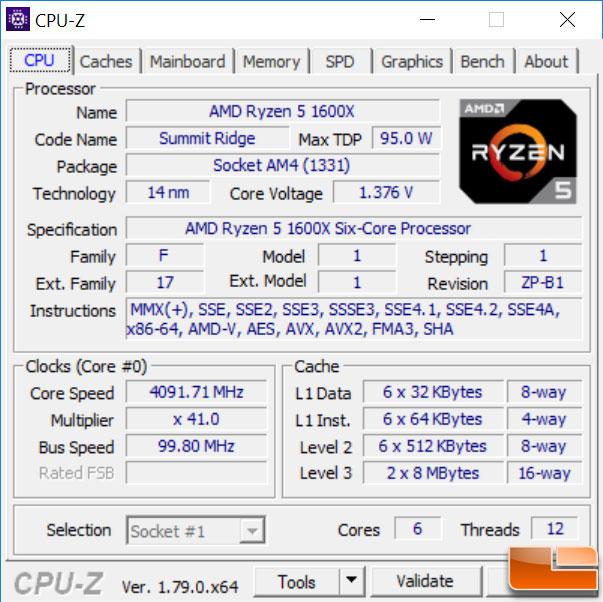 AMD Ryzen 5 1600X CPU-Z Overclocked