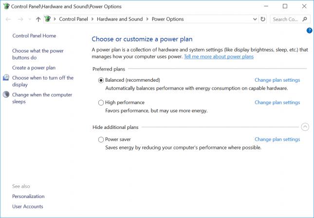 Windows 10 Power Plan