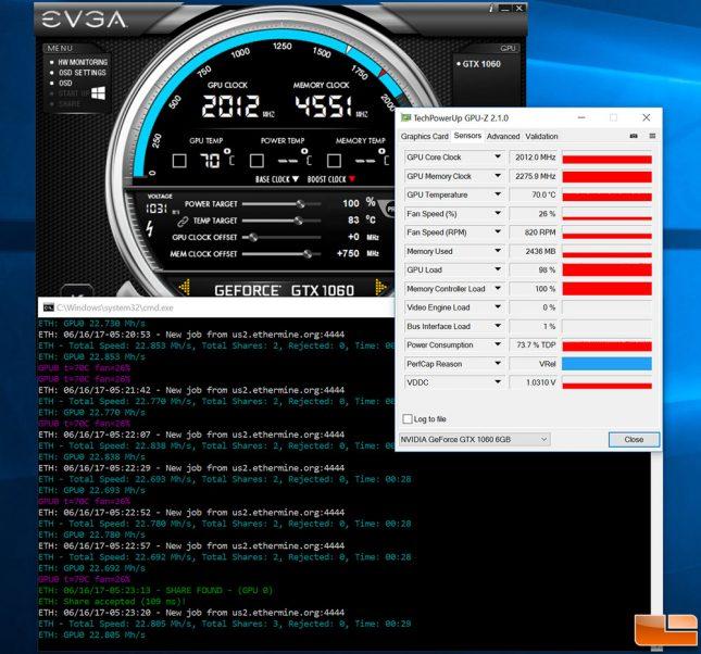 GeForce GTX 1060 Ethereum Mining