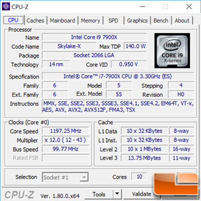 Intel Core i9-7900X CPU-Z