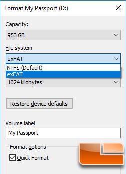 WD My Passport SSD File Format Type