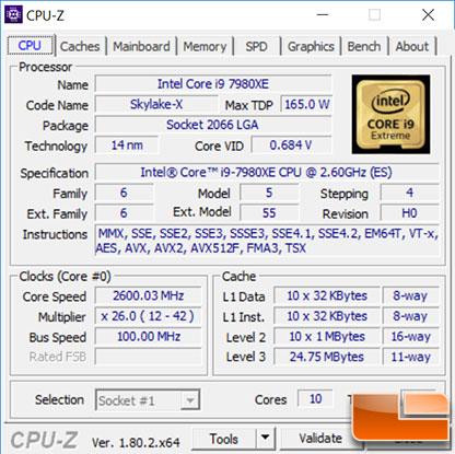 Intel 7980XE Stock CPU-Z