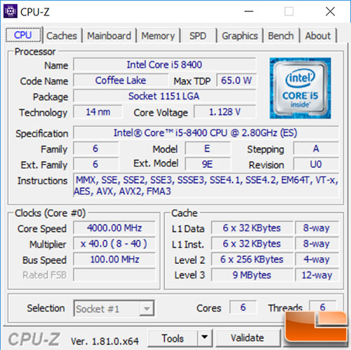 Intel Core i5-8400 CPU-Z