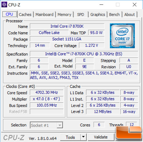 Intel Core i7-8700K CPU-Z