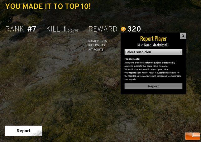 PUBG Report Player