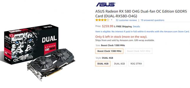 ASUS Radeon RX 580 4GB