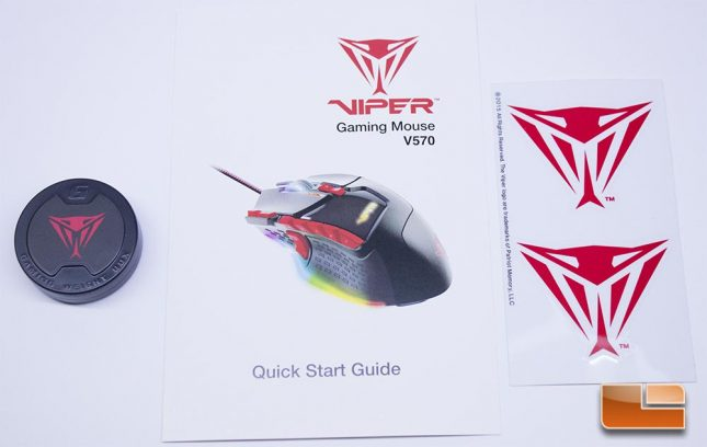 Viper V570 RGB Blackout - Manual, Stickers and Mouse Weights