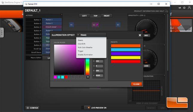 Sensei 310 - RGB Settings