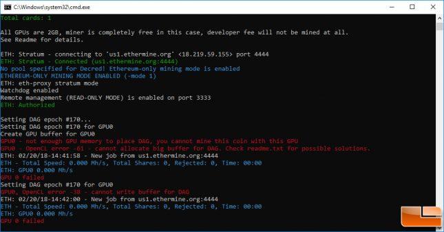 2GB Ethereum Mining Error