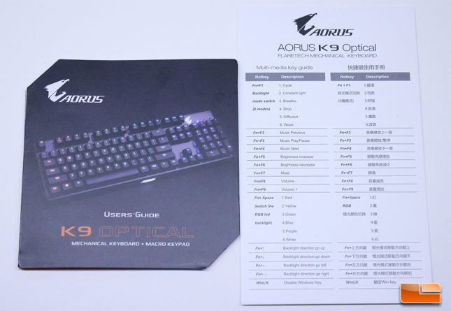 Aorus K9 Optical - User Guide and Manual