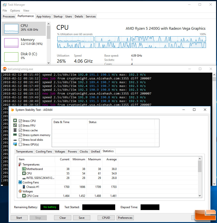AMD Ryzen 5 2400G Mining Performance with NiceHash and XMR