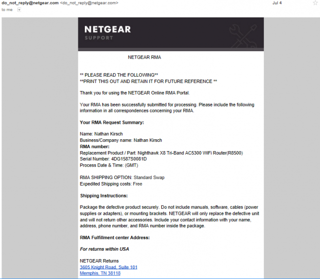 Netgear RMA Approved