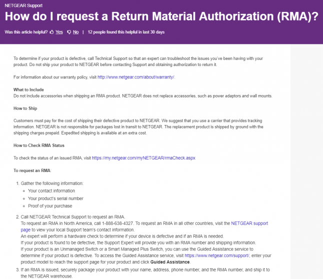 Netgear RMA Procedure