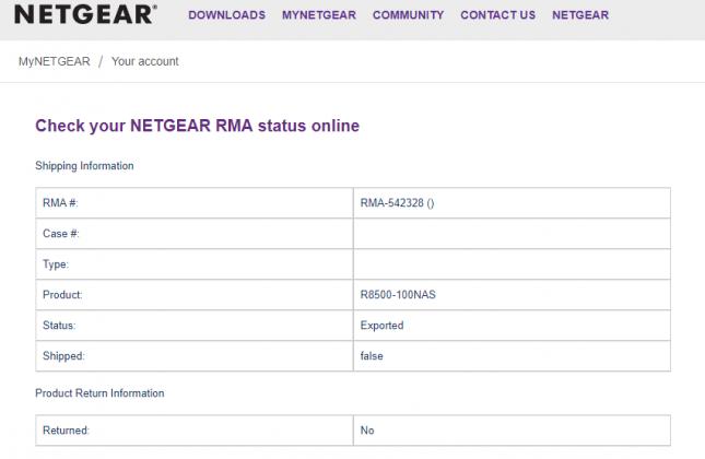 Netgear RMA Status Check
