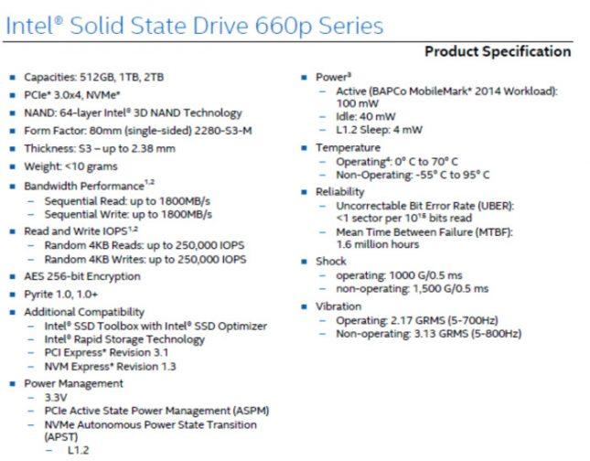 Intel SSD 660p Specs