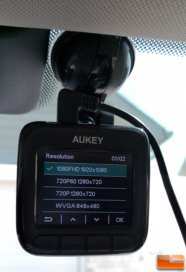 AUKEY Dash Cam DR01 Resolution Settings