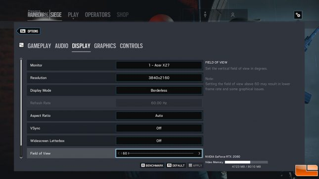 Rainbow Six Settings
