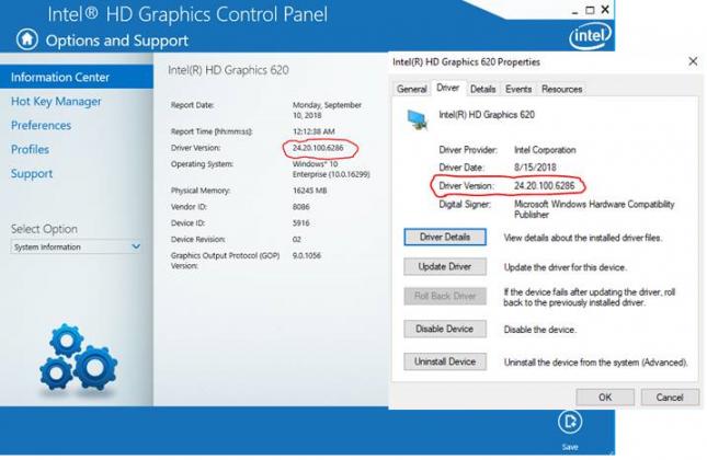 intel graphics driver version