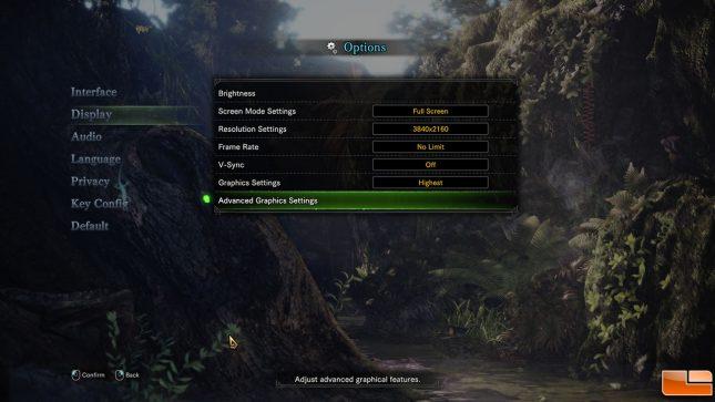 Monster Hunter: World Settings